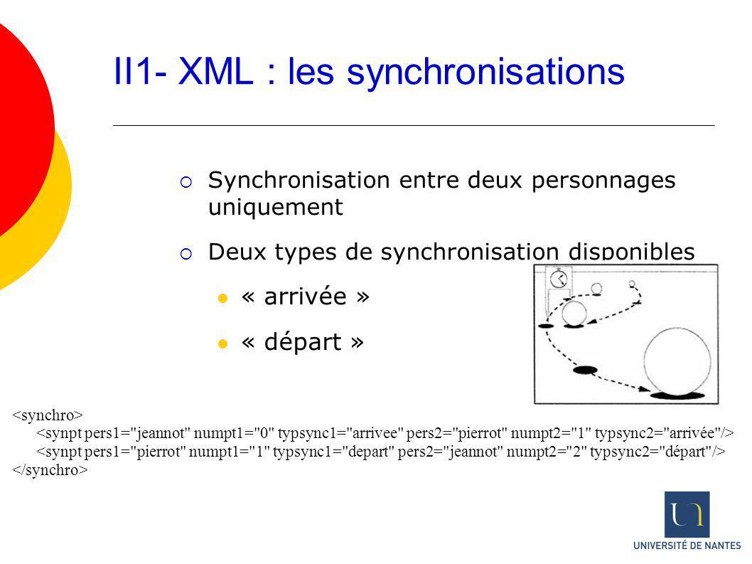 II1- XML : les synchronisations Synchronisation entre deux personnages uniquement Deux types de synchronisation disponibles « arrivée » « départ »
