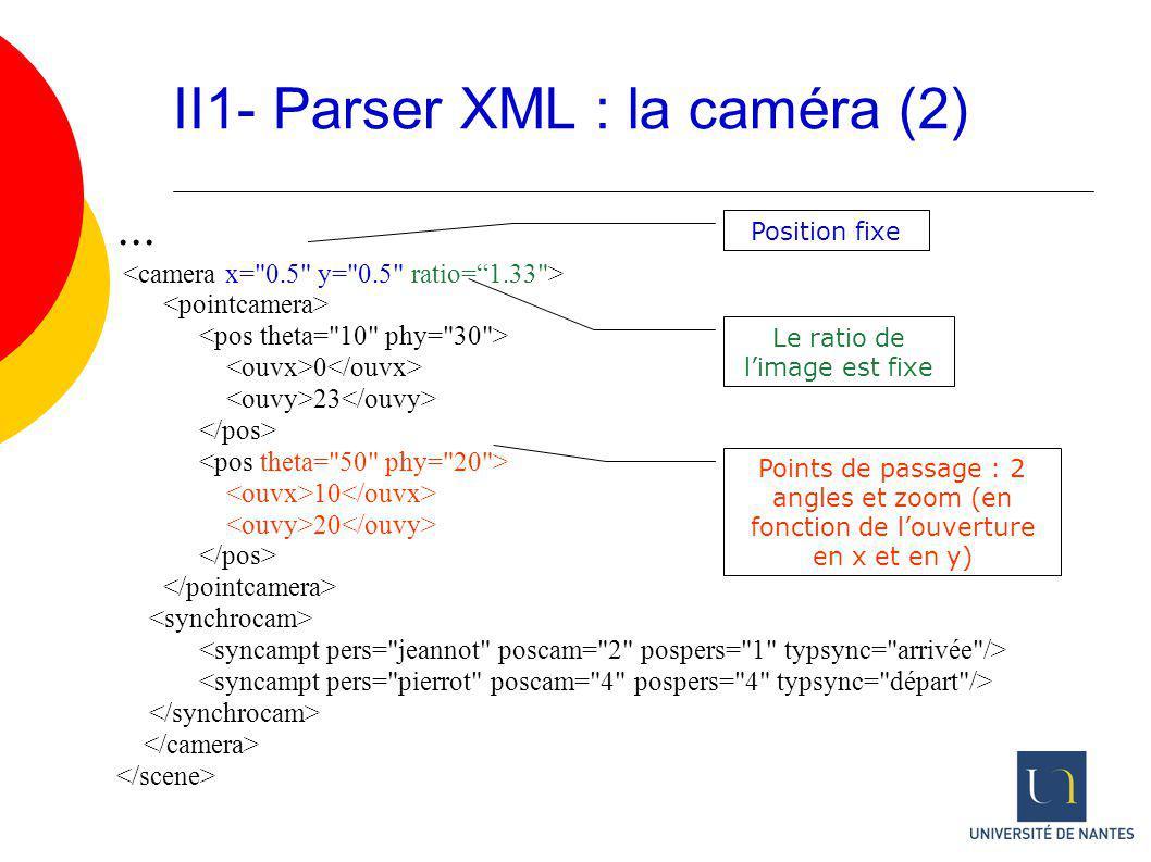 ... 0 23 10 20 II1- Parser XML : la caméra (2) Le ratio de limage est fixe Position fixe Points de passage : 2 angles et zoom (en fonction de louvertu
