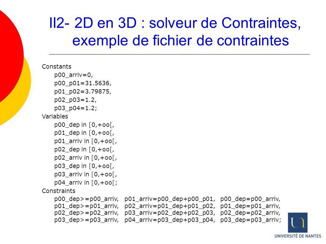 II2- 2D en 3D : solveur de Contraintes, exemple de fichier de contraintes Constants p00_arriv=0, p00_p01=31.5636, p01_p02=3.79875, p02_p03=1.2, p03_p0