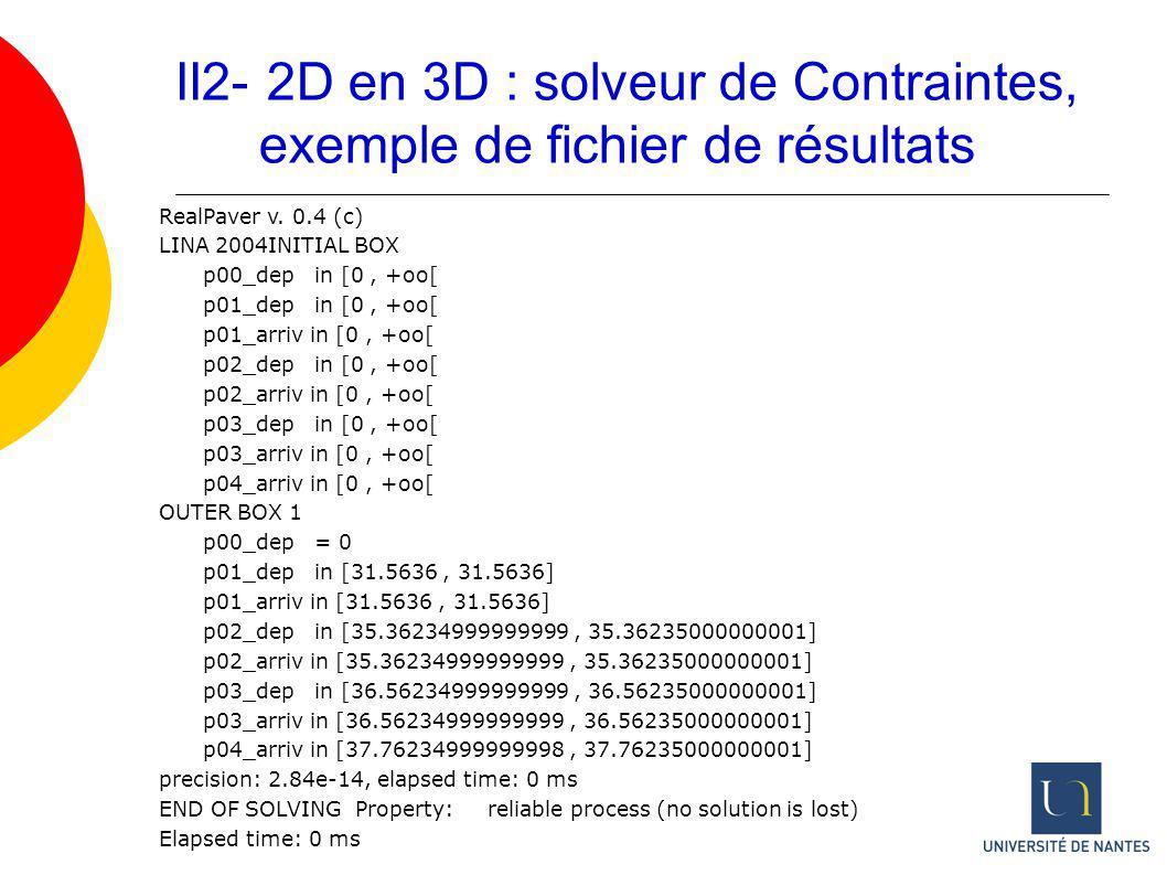 II2- 2D en 3D : solveur de Contraintes, exemple de fichier de résultats RealPaver v. 0.4 (c) LINA 2004INITIAL BOX p00_dep in [0, +oo[ p01_dep in [0, +
