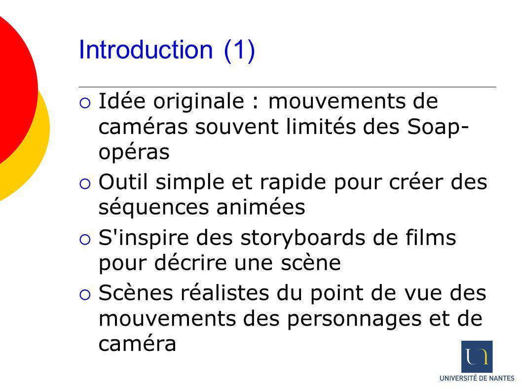 Introduction (1) Idée originale : mouvements de caméras souvent limités des Soap- opéras Outil simple et rapide pour créer des séquences animées S'ins