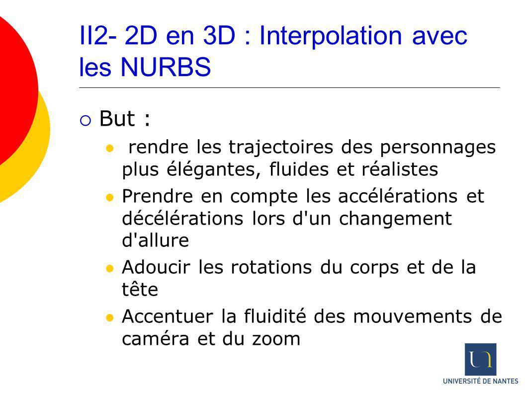 II2- 2D en 3D : Interpolation avec les NURBS But : rendre les trajectoires des personnages plus élégantes, fluides et réalistes Prendre en compte les