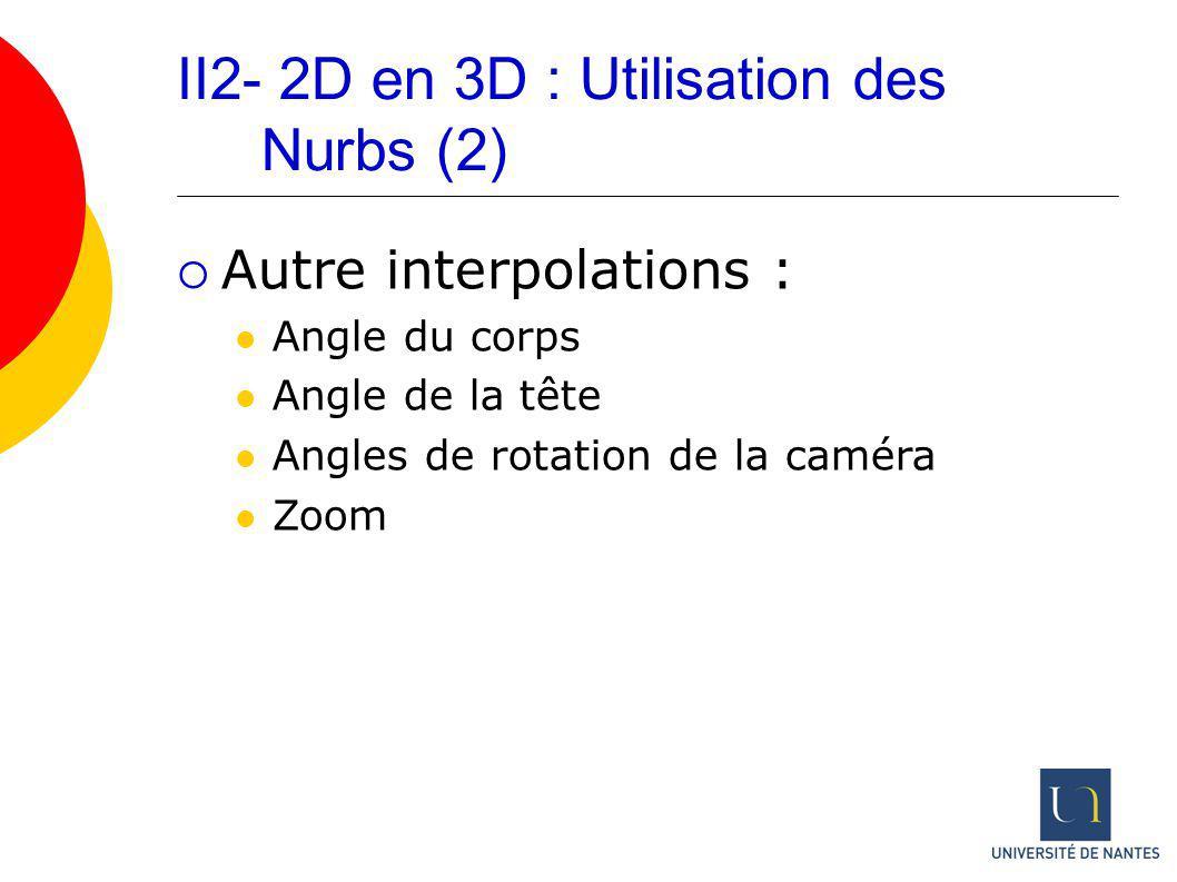 II2- 2D en 3D : Utilisation des Nurbs (2) Autre interpolations : Angle du corps Angle de la tête Angles de rotation de la caméra Zoom