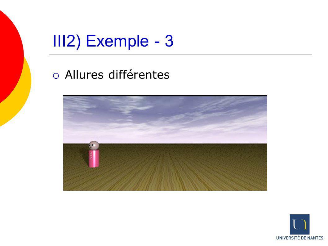 III2) Exemple - 3 Allures différentes
