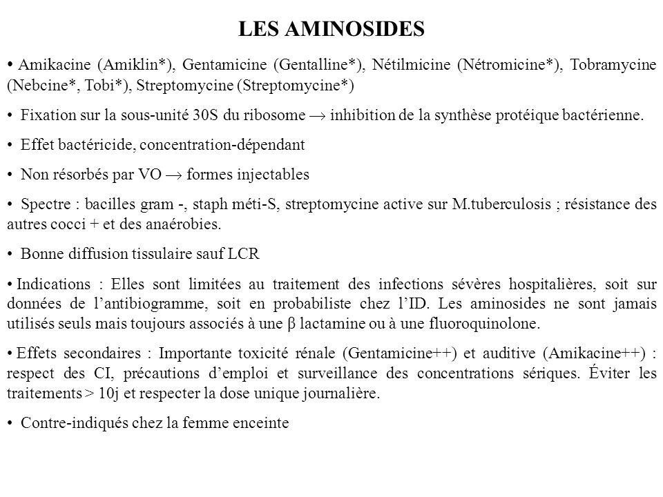 LES AMINOSIDES Amikacine (Amiklin*), Gentamicine (Gentalline*), Nétilmicine (Nétromicine*), Tobramycine (Nebcine*, Tobi*), Streptomycine (Streptomycine*) Fixation sur la sous-unité 30S du ribosome inhibition de la synthèse protéique bactérienne.