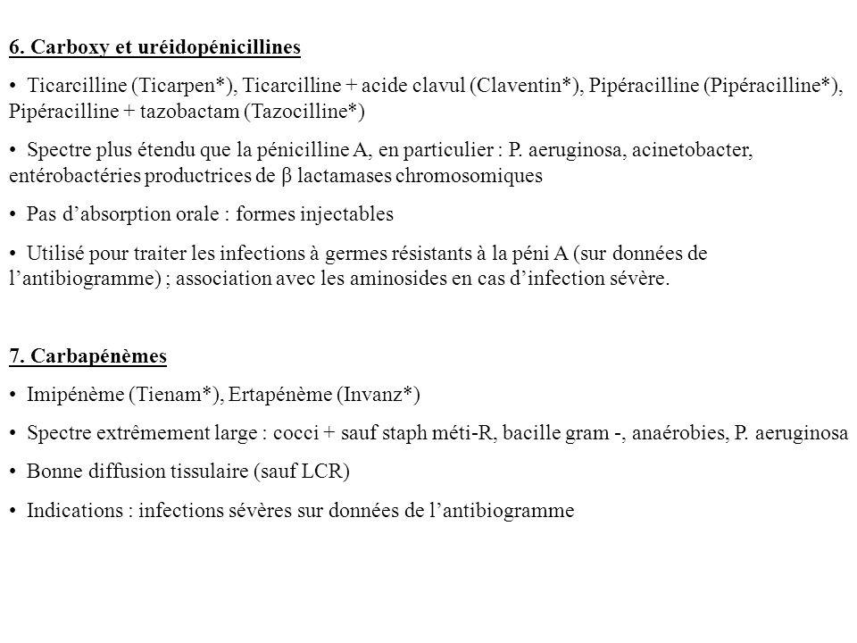 - Jamais de monothérapie - Indications : infections à staph (si sensible) - Effets secondaires : troubles digestifs, réactions allergiques, irritation veineuse lors de la perfusion dilution suffisante Fosfomycine (Fosfocine*) (IV) - Inhibition de la synthèse de la paroi bactérienne, effet bactéricide - Spectre : staph, pneumocoque, entérobactéries sont IS - Jamais de monothérapie - Indications : méningites à staph (excellente diffusion dans le LCR), infections ostéo-articulaires à staph - Existence d une forme orale : Monuril* indication limité au traitement de la cystite aiguë - Effets secondaires : apports sodés importants (4g/j), hypokaliémie, irritation veineuse.