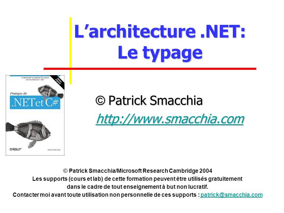 Larchitecture.NET: Le typage © Patrick Smacchia http://www.smacchia.com © Patrick Smacchia/Microsoft Research Cambridge 2004 Les supports (cours et lab) de cette formation peuvent être utilisés gratuitement dans le cadre de tout enseignement à but non lucratif.