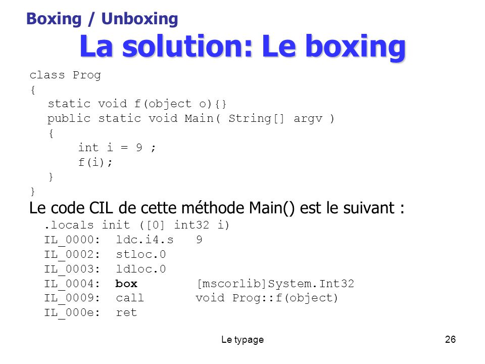 Le typage26 La solution: Le boxing class Prog { static void f(object o){} public static void Main( String[] argv ) { int i = 9 ; f(i); } Le code CIL de cette méthode Main() est le suivant :.locals init ([0] int32 i) IL_0000: ldc.i4.s 9 IL_0002: stloc.0 IL_0003: ldloc.0 IL_0004: box [mscorlib]System.Int32 IL_0009: call void Prog::f(object) IL_000e: ret Boxing / Unboxing