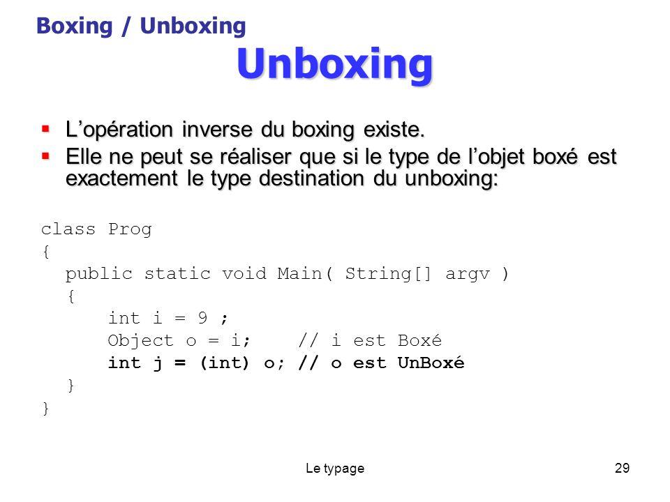 Le typage29 Unboxing Lopération inverse du boxing existe.