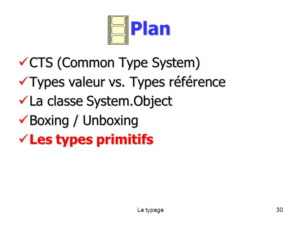 Le typage30 Plan CTS (Common Type System) CTS (Common Type System) Types valeur vs.