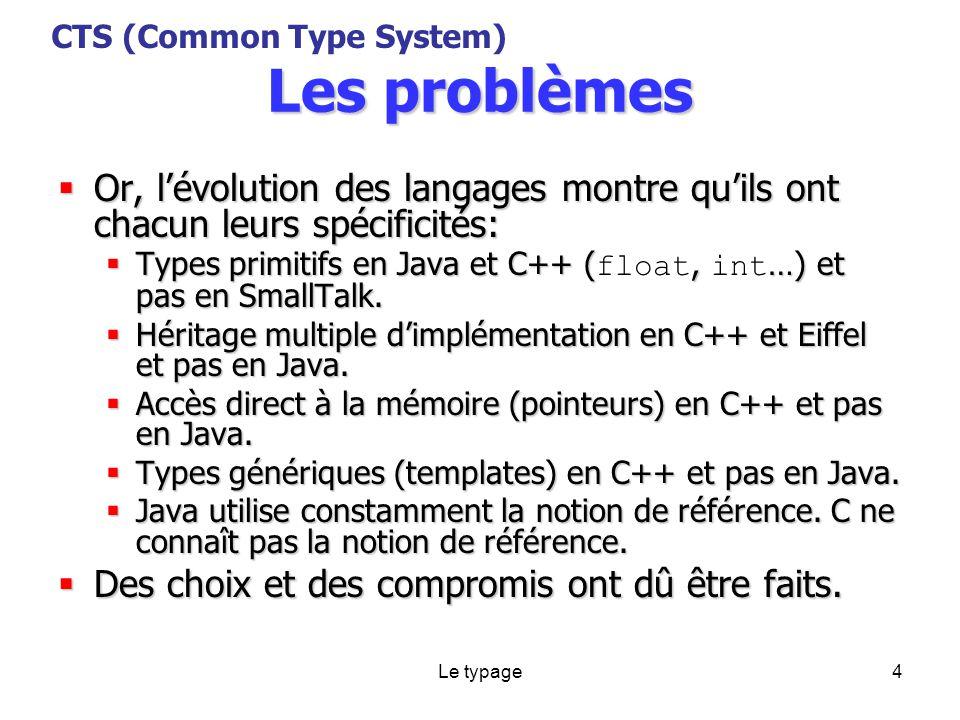 Le typage4 Les problèmes Or, lévolution des langages montre quils ont chacun leurs spécificités: Or, lévolution des langages montre quils ont chacun leurs spécificités: Types primitifs en Java et C++ (, …) et pas en SmallTalk.