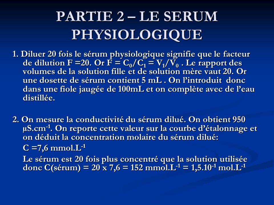 PARTIE 2 – LE SERUM PHYSIOLOGIQUE 1.