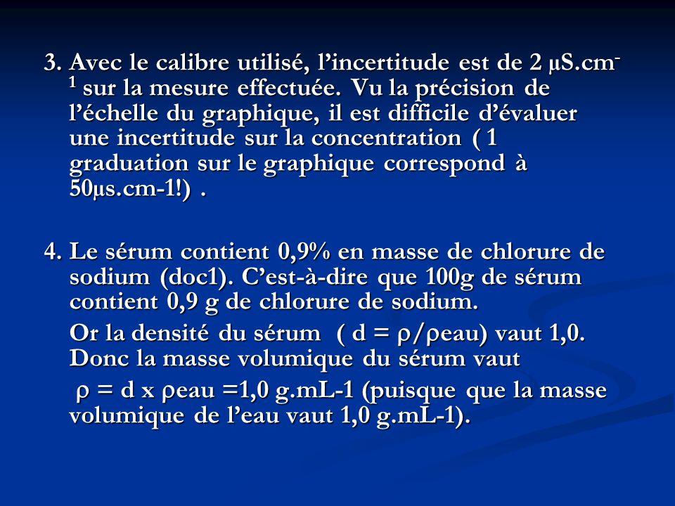 3.Avec le calibre utilisé, lincertitude est de 2 µS.cm - 1 sur la mesure effectuée.