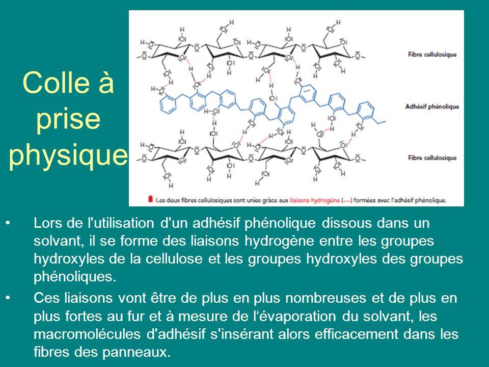 Colle à prise physique Lors de l'utilisation d'un adhésif phénolique dissous dans un solvant, il se forme des liaisons hydrogène entre les groupes hyd