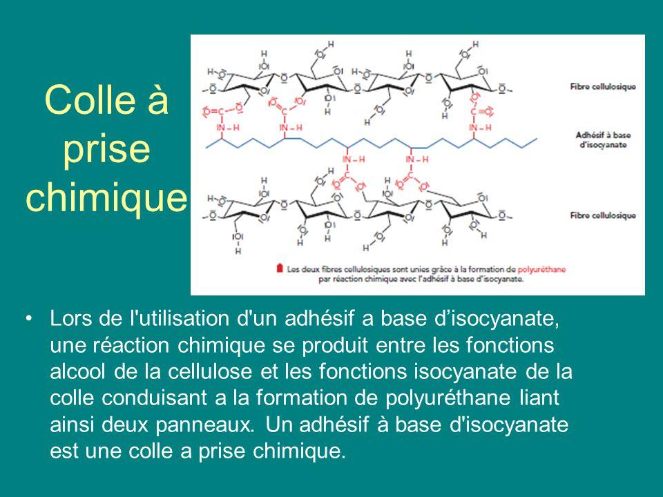 Colle à prise chimique Lors de l'utilisation d'un adhésif a base disocyanate, une réaction chimique se produit entre les fonctions alcool de la cellul