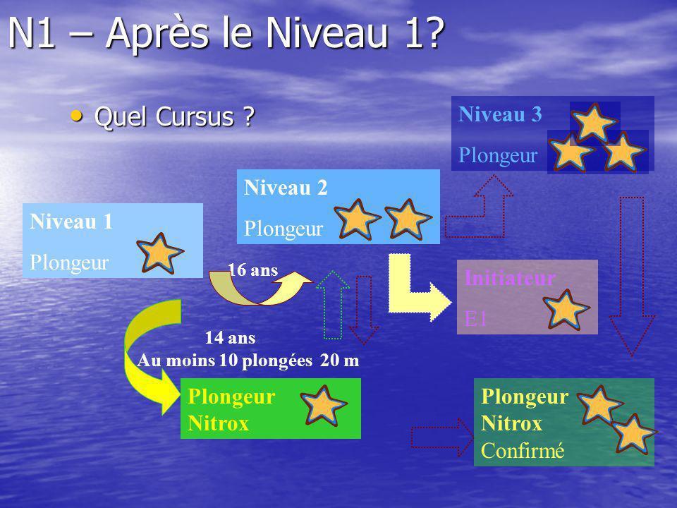 N1 – Après le Niveau 1? Quel Cursus ? Quel Cursus ? Niveau 1 Plongeur Niveau 2 Plongeur 16 ans Plongeur Nitrox 14 ans Au moins 10 plongées 20 m Plonge