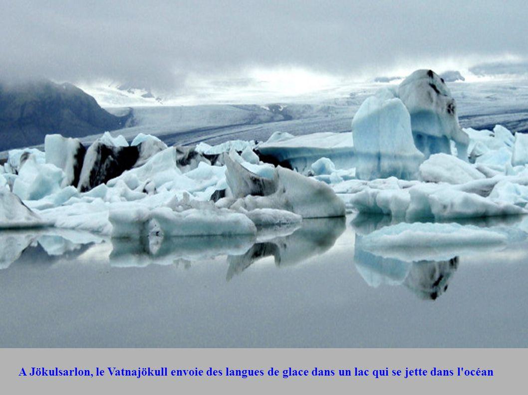 A Jökulsarlon, le Vatnajökull envoie des langues de glace dans un lac qui se jette dans l'océan