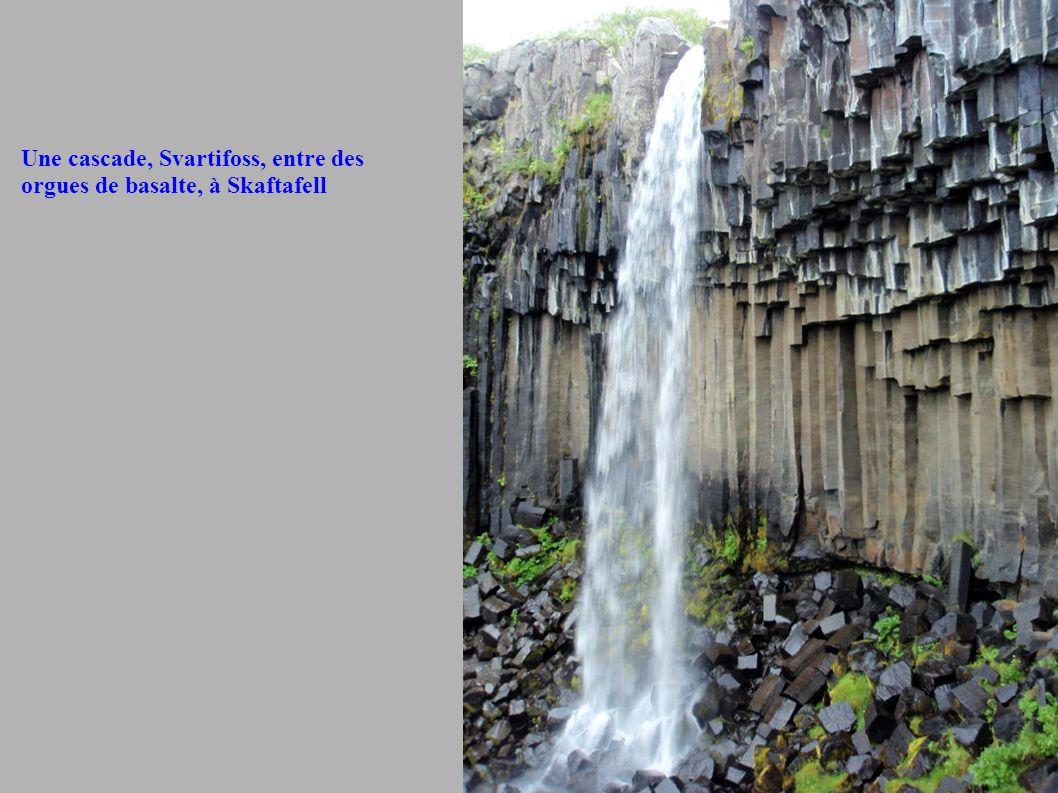 Une cascade, Svartifoss, entre des orgues de basalte, à Skaftafell