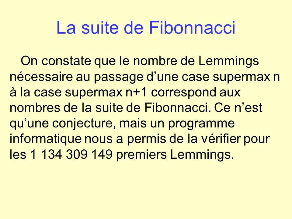 La suite de Fibonnacci Daprès cela, nous avons observé que la proportion de Lemmings au paradis tend vers Φ -1.