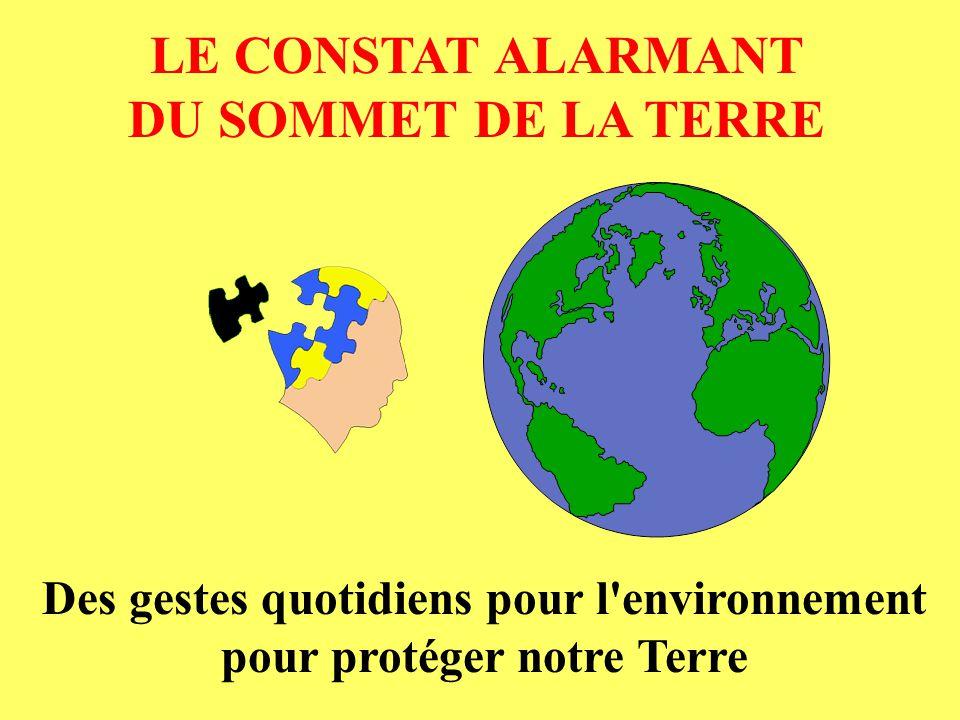 LE CONSTAT ALARMANT DU SOMMET DE LA TERRE Des gestes quotidiens pour l'environnement pour protéger notre Terre