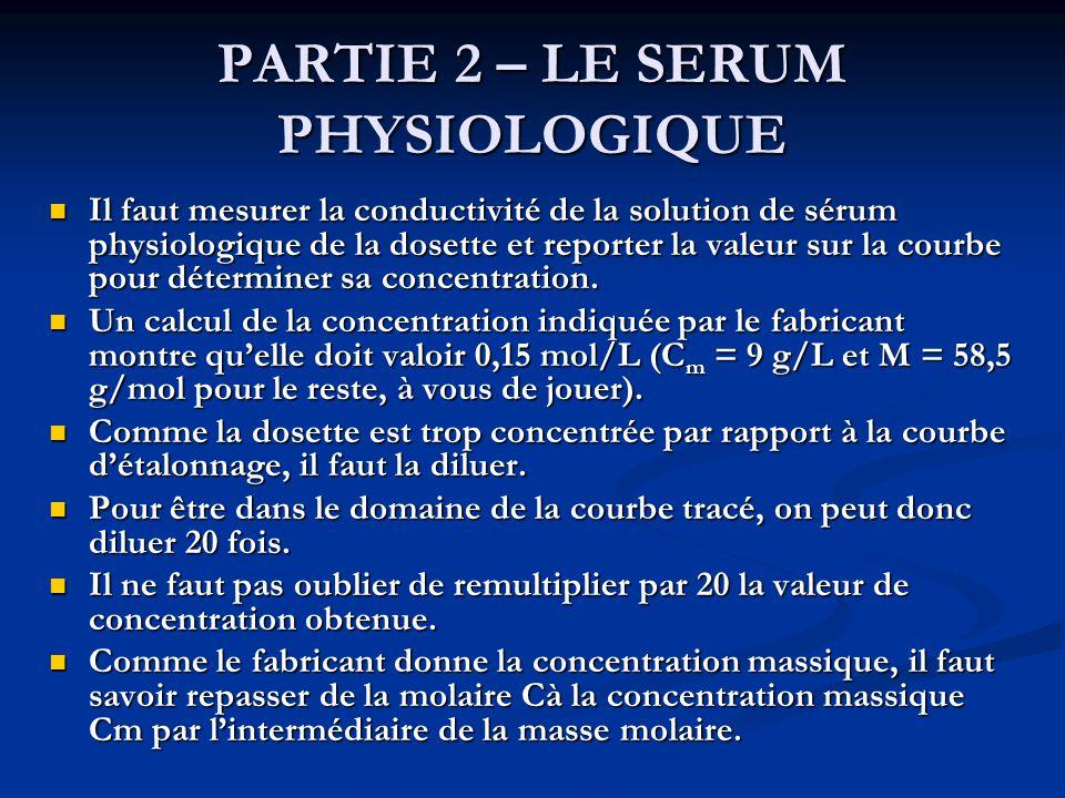 PARTIE 2 – LE SERUM PHYSIOLOGIQUE Il faut mesurer la conductivité de la solution de sérum physiologique de la dosette et reporter la valeur sur la cou