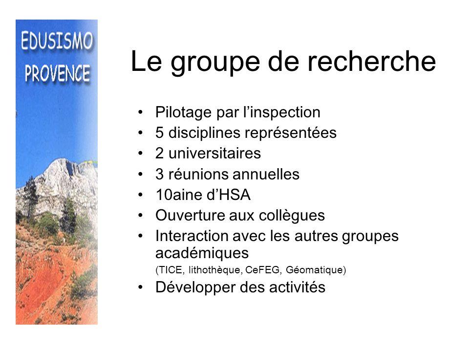 La formation Plan Académique (TICE, ECE, pédagogie de projet ) AEFE (TICE et sismologie) APBG (activité régionale, congrès national) Corps dinspections étrangers (Tunisie, Algérie, Sénégal) IUFM (futurs profs)