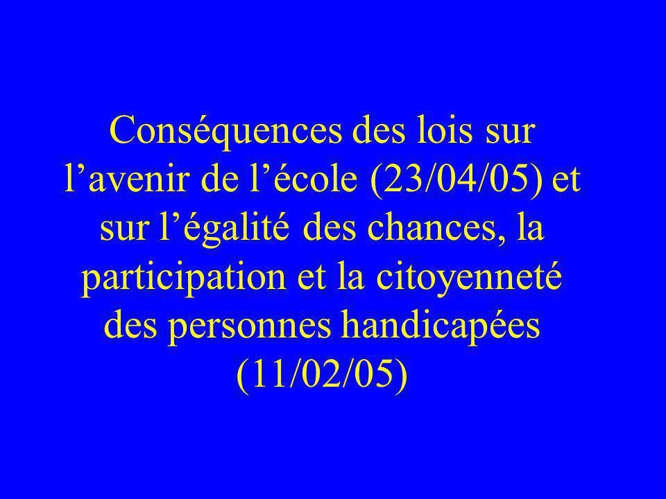 Conséquences des lois sur lavenir de lécole (23/04/05) et sur légalité des chances, la participation et la citoyenneté des personnes handicapées (11/02/05)