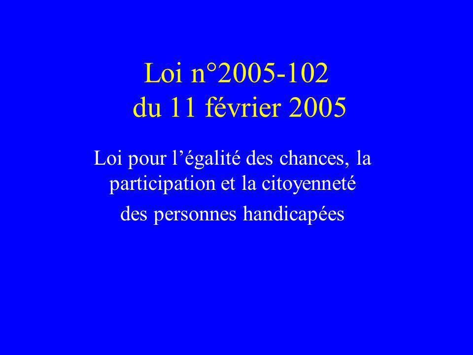 Loi n°2005-102 du 11 février 2005 Loi pour légalité des chances, la participation et la citoyenneté des personnes handicapées