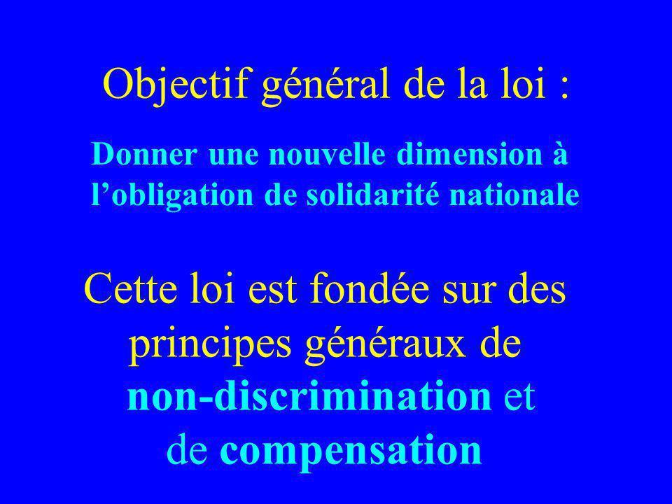 Cette loi est fondée sur des principes généraux de non-discrimination et de compensation Objectif général de la loi : Donner une nouvelle dimension à lobligation de solidarité nationale