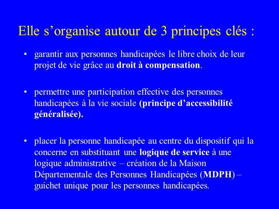 Elle sorganise autour de 3 principes clés : garantir aux personnes handicapées le libre choix de leur projet de vie grâce au droit à compensation.