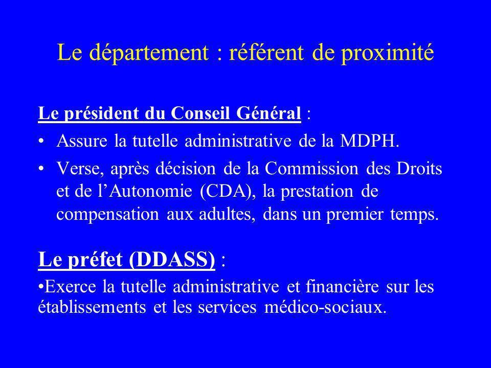 Le département : référent de proximité Le président du Conseil Général : Assure la tutelle administrative de la MDPH.