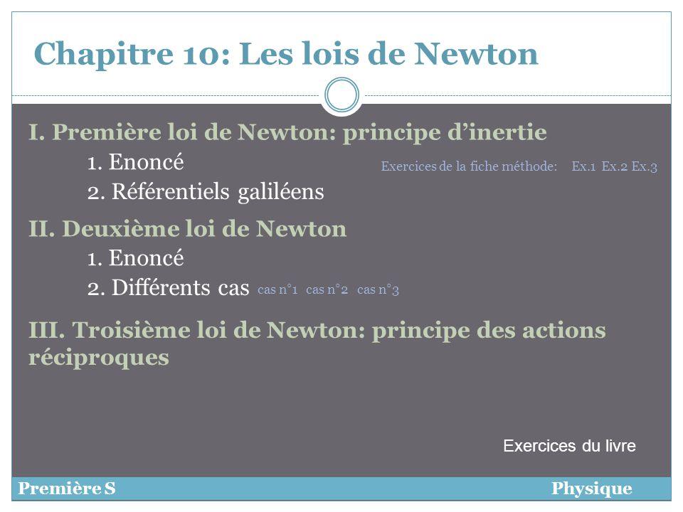 Chapitre 10:Les lois de Newton I. Première loi de Newton: principe dinertie Première SPhysique 1. Enoncé 2. Référentiels galiléens II. Deuxième loi de
