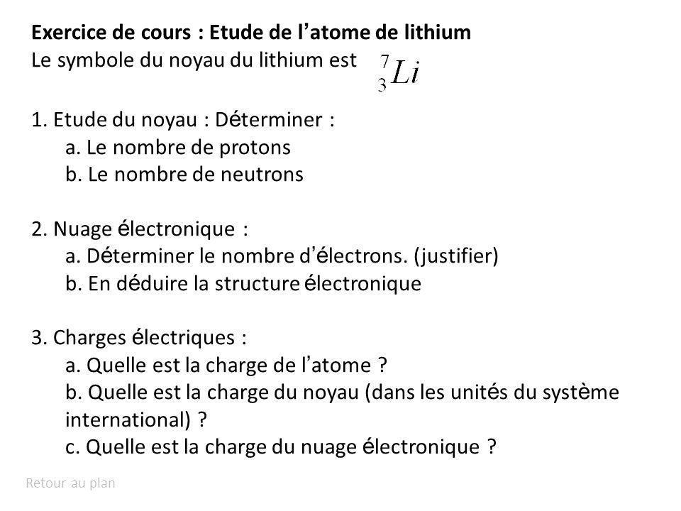 Retour au plan Exercice de cours : Etude de l atome de lithium Le symbole du noyau du lithium est 1. Etude du noyau : D é terminer : a. Le nombre de p