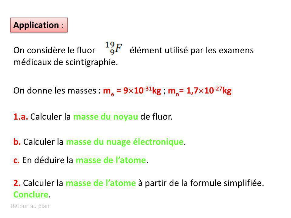 Application : On considère le fluorélément utilisé par les examens médicaux de scintigraphie. On donne les masses : m e = 9 10 -31 kg ; m n = 1,7 10 -