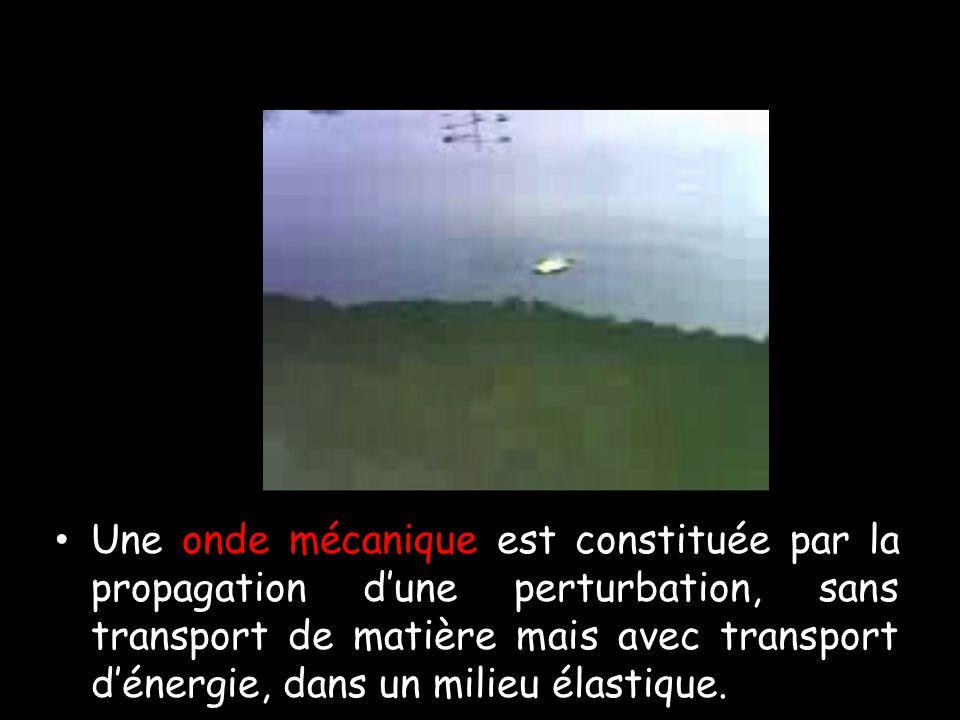 Une onde mécanique est constituée par la propagation dune perturbation, sans transport de matière mais avec transport dénergie, dans un milieu élastique.