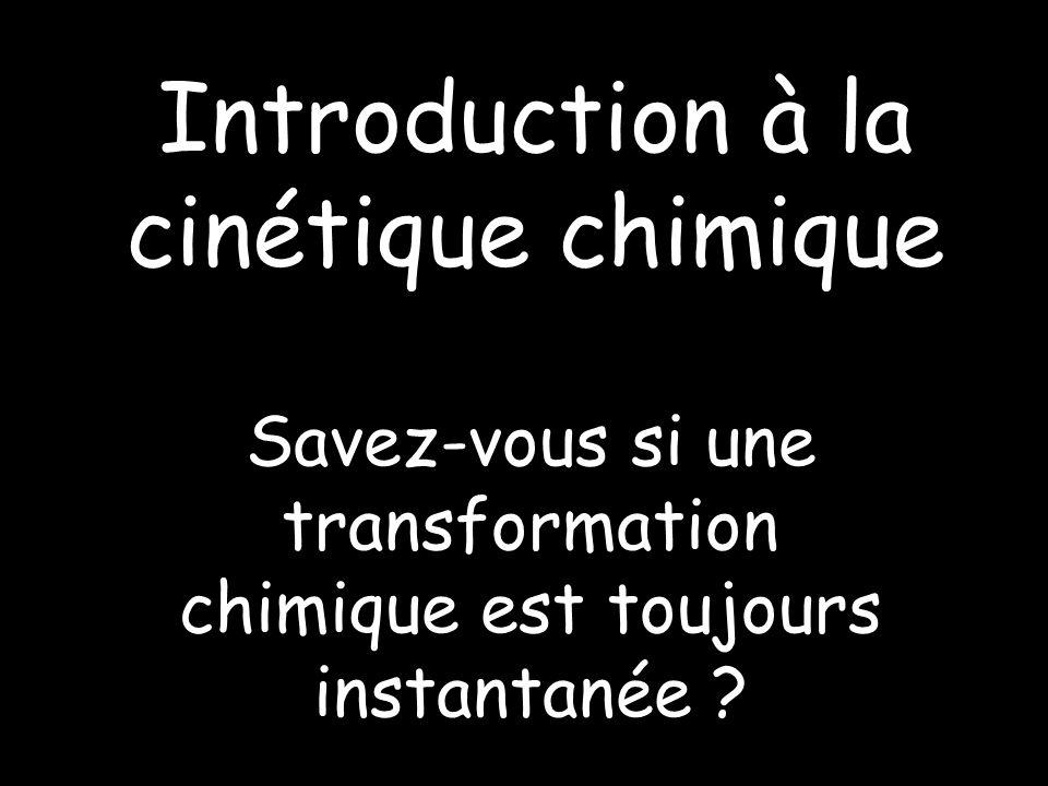 Introduction à la cinétique chimique Savez-vous si une transformation chimique est toujours instantanée ?