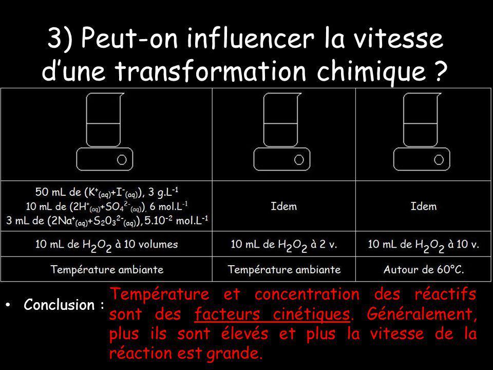 3) Peut-on influencer la vitesse dune transformation chimique ? Conclusion : Température et concentration des réactifs sont des facteurs cinétiques. G