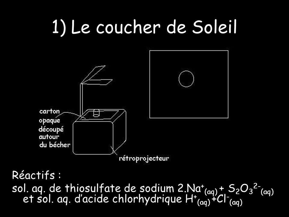 1) Le coucher de Soleil Réactifs : sol. aq. de thiosulfate de sodium 2.Na + (aq) + S 2 O 3 2- (aq) et sol. aq. dacide chlorhydrique H + (aq) +Cl - (aq