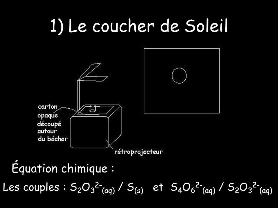 1) Le coucher de Soleil Équation chimique : Les couples : S 2 O 3 2- (aq) / S (s) et S 4 O 6 2- (aq) / S 2 O 3 2- (aq)