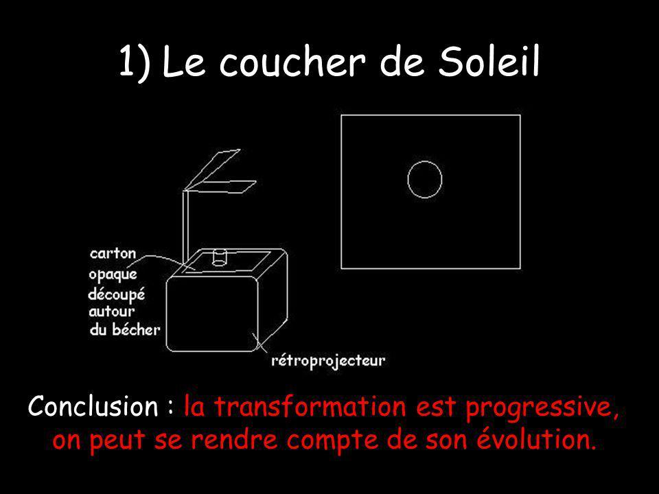1) Le coucher de Soleil Conclusion : la transformation est progressive, on peut se rendre compte de son évolution.