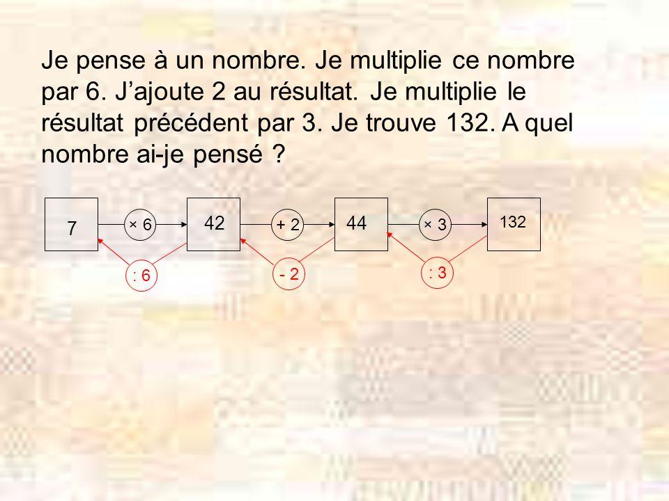 Je pense à un nombre. Je multiplie ce nombre par 6. Jajoute 2 au résultat. Je multiplie le résultat précédent par 3. Je trouve 132. A quel nombre ai-j