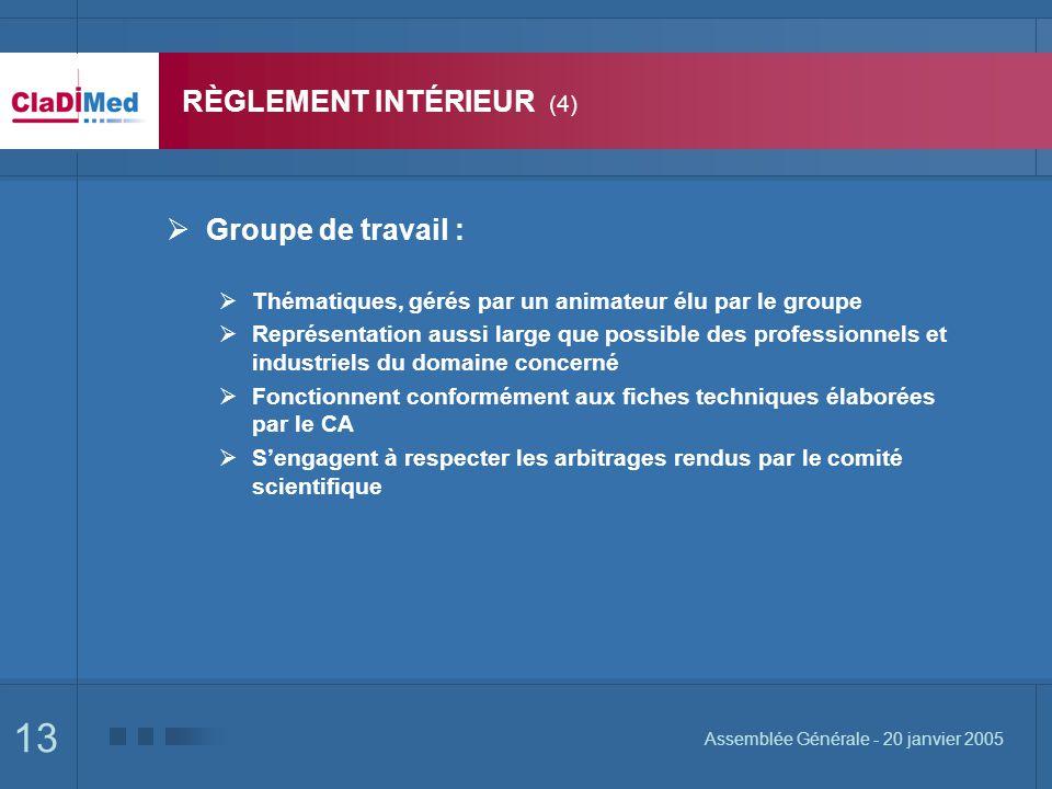 13 Assemblée Générale - 20 janvier 2005 RÈGLEMENT INTÉRIEUR (4) Groupe de travail : Thématiques, gérés par un animateur élu par le groupe Représentati
