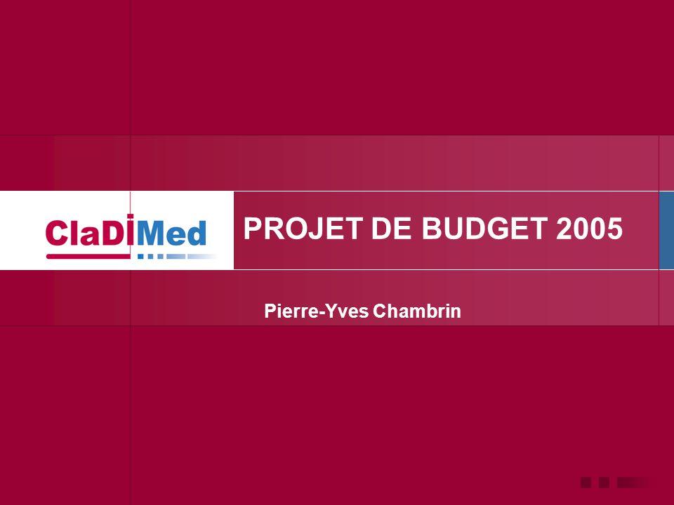 PROJET DE BUDGET 2005 Pierre-Yves Chambrin