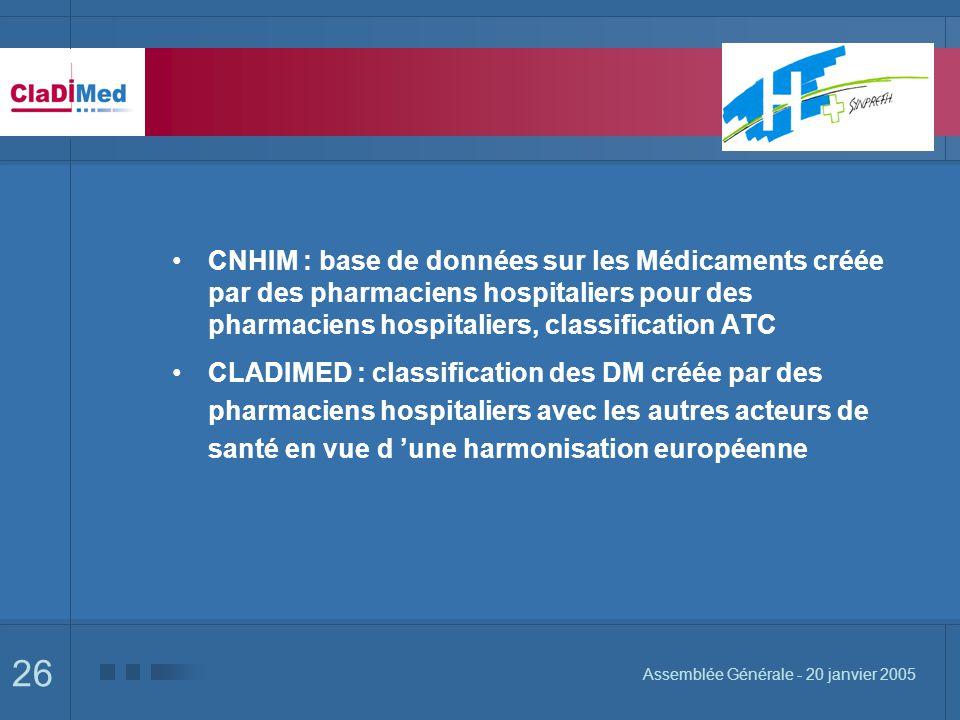 26 Assemblée Générale - 20 janvier 2005 CNHIM : base de données sur les Médicaments créée par des pharmaciens hospitaliers pour des pharmaciens hospitaliers, classification ATC CLADIMED : classification des DM créée par des pharmaciens hospitaliers avec les autres acteurs de santé en vue d une harmonisation européenne