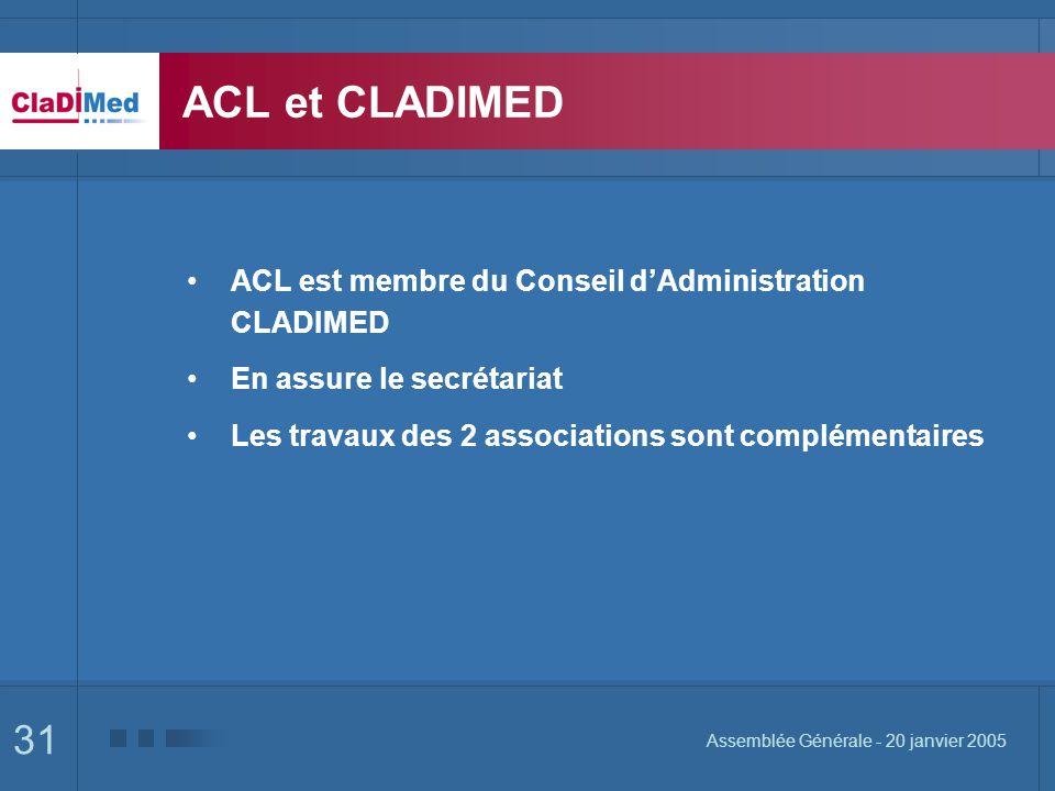 31 Assemblée Générale - 20 janvier 2005 ACL et CLADIMED ACL est membre du Conseil dAdministration CLADIMED En assure le secrétariat Les travaux des 2 associations sont complémentaires