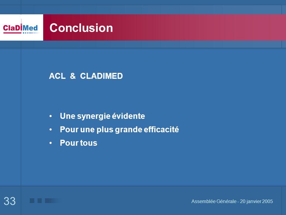 33 Assemblée Générale - 20 janvier 2005 Conclusion ACL & CLADIMED Une synergie évidente Pour une plus grande efficacité Pour tous