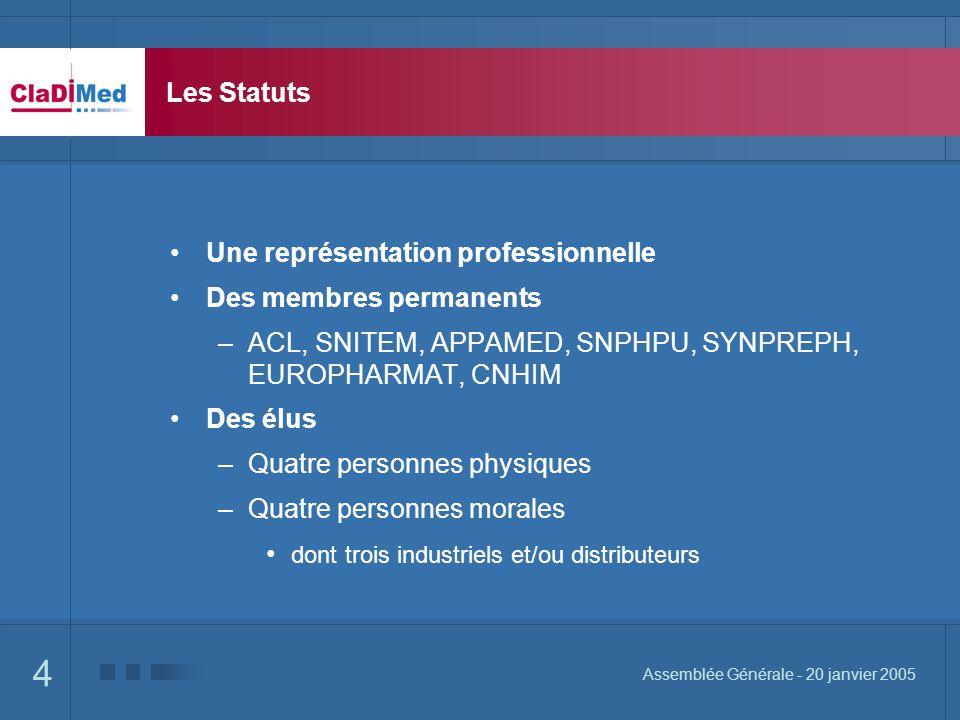 4 Assemblée Générale - 20 janvier 2005 Les Statuts Une représentation professionnelle Des membres permanents –ACL, SNITEM, APPAMED, SNPHPU, SYNPREPH,