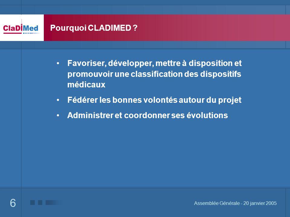 6 Assemblée Générale - 20 janvier 2005 Pourquoi CLADIMED ? Favoriser, développer, mettre à disposition et promouvoir une classification des dispositif