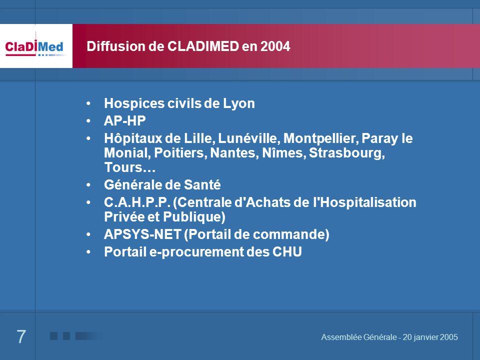 7 Assemblée Générale - 20 janvier 2005 Diffusion de CLADIMED en 2004 Hospices civils de Lyon AP-HP Hôpitaux de Lille, Lunéville, Montpellier, Paray le Monial, Poitiers, Nantes, Nîmes, Strasbourg, Tours… Générale de Santé C.A.H.P.P.
