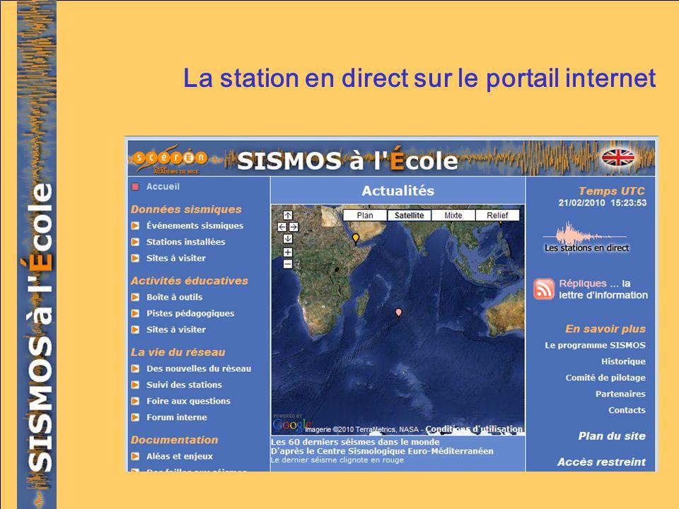 La station en direct sur le portail internet